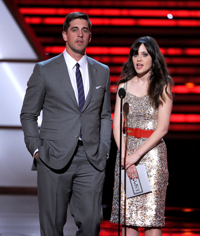 Aaron Rodgers and Zooey Deschanel