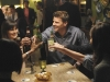 BONES:  Brennan (Emily Deschanel, L) and Booth (David Boreanaz, R) enjoy and evening with the Jeffersonian Team in