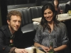 BONES:  Hodgins (TJ Thyne, L) and Angela (Michaela Conlin, R) enjoy an evening with the Jeffersonian Team in