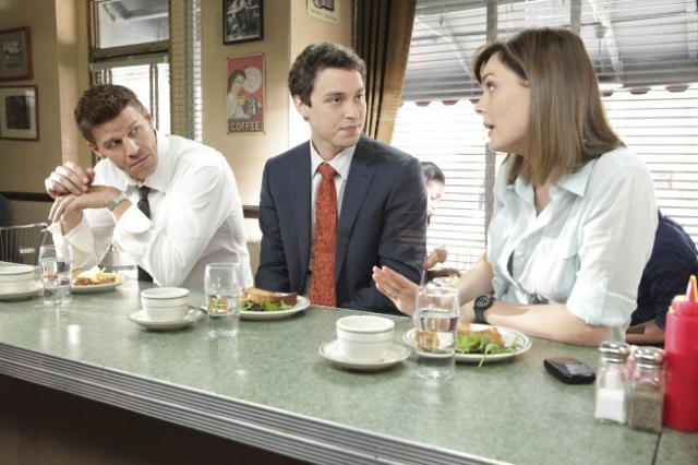 "BONES:  L-R:  Booth (David Boreanaz), Sweets (John Francis Daley) and Brennan (Emily Deschanel) discuss details of their latest case in the BONES episode ""The Couple in the Cave"" airing Thursday, Sept. 30 (8:00-9:00 PM ET/PT) on FOX.  ©2010 Fox Broadcasting Co.  Cr:  Adam Taylor/FOX"