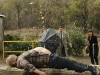 Brennan (Emily Deschanel, R) and Booth (David Boreanaz, L) encounter an exploding body