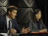 BONES:  Booth (David Boreanaz, L) and Brennan (Emily Deschanel, R) question the employer of a suspect in their current case in