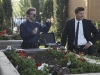 BONES:  Booth (David Boreanaz, R) and Hodgins (TJ Thyne, L) investigate remains found in a planter at a newly built community center in