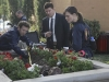 "BONES:  Brennan (Emily Deschanel, R), Booth (David Boreanaz, C) and Hodgins (TJ Thyne, L) investigate remains found in a planter at a newly built community center in ""The Pinocchio in the Planter"" episode of BONES airing Thursday, April 28 (9:00-10:00 PM ET/PT) on FOX.  ©2011 Fox Broadcasting Co.  Cr:  Ray Mickshaw/FOX"