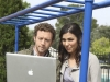 "BONES:  Hodgins (TJ Thyne, L) and Angela (Michaela Conlin, R) investigate a newly built community center playground for clues to their current case in the ""Pinocchio in the Planter"" episode of BONES airing Thursday, April 28 (9:00-10:00 PM ET/PT) on FOX.  ©2011 Fox Broadcasting Co.  Cr:  Ray Mickshaw/FOX"