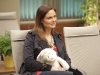 "BONES:  Brennan (Emily Deschanel) waits to meet Angela's and Hodgins' new baby in ""The Change in the Game"" season finale episode of BONES airing Thursday, May 19 (9:00-10:00 PM ET/PT) on FOX.  ©2011 Fox Broadcasting Co.  Cr:  Adam Taylor/FOX"