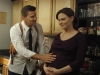 "BONES:  Brennan (Emily Deschanel, R) and Booth (David Boreanaz, L) adjust to their new life as an expectant couple in ""The Memories in the Shallow Grave"" Season Seven premiere of BONES airing Thursday, Nov. 3 (9:00-10:00 ET/PT) on FOX.  ©2011 Fox Broadcasting Co. Cr:  Beth Dubber/FOX"