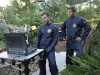 "BONES:  Hodgins (TJ Thyne, L) and Jeffersonian intern Wendell Bray (guest star Michael Grant Terry, R) investigate remains found in a paintball field in ""The Memories in the Shallow Grave"" Season Seven premiere of BONES airing Thursday, Nov. 3 (9:00-10:00 ET/PT) on FOX.  ©2011 Fox Broadcasting Co. Cr:  Beth Dubber/FOX"