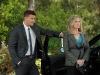 BONES:  Booth (David Boreanaz, L) is interested in questioning the CEO of a toy company (guest star Morgan Fairchild, R) in