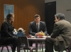 BONES:  Brennan (Emily Deschanel, L) and Booth (David Boreanaz, C) question toy company employee (guest star John Ross Bowie, R) in