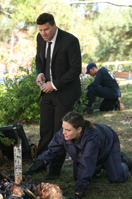 BONES:  Brennan (Emily Deschanel, R) and Booth (David Boreanaz, L)