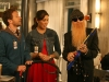 BONES:  Angela (Michaela Conlin, C) and Hodgins (TJ Thyne, L) are surprised by the gift Angela's father Billy F. Gibbons (as himself, R) brings for their infant son in