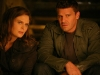 BONES:  Brennan (Emily Deschanel, L) and Booth (David Boreanaz, R) take refuge in a tornado shelter when they investigate the murder of a