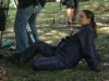 BONES - Behind The Scenes of : Brennan (Emilly Deschanel) relaxes while the crew sets up