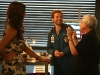 BONES - Behind The Scenes:  Angela (Michaela Conlin, C) and Hodgins (TJ Thyne, L)
