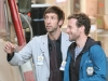 BONES:  Hodgins (TJ Thyne, R) and Jeffersonian intern Colin Fisher (Joel David Moore, L) prepare an experiment in