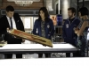 BONES:  L-R:  Booth (David Boreanaz), Angela (Michaela Conlin), Hodgins (TJ Thyne) and Cam (Tamara Taylor) investigate an artifact from the Jeffersonian that may hold a clue to who shot Brennan in the
