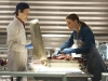 BONES:  Brennan (Emily Deschanel, R) and Jeffersonian Intern Finn Abernathy (guest star Luke Kleintank, L) investigate remains found in a suitcase in the