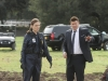 BONES:  Brennan (Emily Deschanel, L) and Booth (David Boreanaz, R) investigate remains found at a farm in the