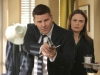 BONES:  Brennan (Emily Deschanel, R) and Booth (David Boreanaz, L) are caught by surprise in the