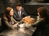 BONES:  Brennan (Emily Deschanel, L) and Booth (David Boreanaz, C) interview a woman (guest star Rona Benson, R) whom they suspect may be involved in the death of an ex-military officer in the