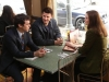 BONES:  Sweets (John Francis Daley, L) tells Brennan (Emily Deschanel, R) and Booth (David Boreanaz, C) that he has found a new apartment in the