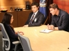 BONES:  Booth (David Boreanaz, R) and Sweets (John Francis Daley, C) interview a suspect (guest star Gloria Garayua, L) in their case in the