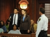BONES:  While investigating the murder of a TV producer, Booth (David Boreanaz, L) and Brennan (Emily Deschanel, R) attend a taping of the courtroom show on which she worked in the