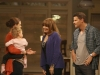 BONES:  When Booth's (David Boreanaz, R) mother (guest star Joanna Cassidy, second from R) shows up after a long absence in his life, she meets Brennan (Emily Deschanel, L) and Christine in the