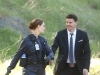 BONES: Brennan (Emily Deschanel, L) and Booth (David Boreanaz, R) investigate the murders of several FBI agents with whom Booth was close in the