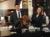 "BONES: Brennan (Emily Deschanel, R) and Booth (David Boreanaz, L) arrest a suspect (guest star Kathleen York, C) in the ""The Secrets in the Proposal"" season premiere episode of BONES airing Monday, Sept. 16 (8:00-9:00 PM ET/PT) on FOX. ©2013 Fox Broadcasting Co. Cr: Ray Mickshaw/FOX"