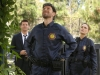 "BONES:  Brennan (Emily Deschanel, R), Booth (David Boreanaz, L) and Hodgins (TJ Thyne, C) investigate remains that were found being eaten by bobcats in the ""The Cheat in the Retreat"" episode of BONES airing Monday, Sept. 23 (8:00-9:00 PM ET/PT) on FOX. ©2013 Fox Broadcasting Co.  Cr:  Patrick McElhenney/FOX"