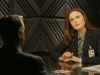 "BONES:  Brennan (Emily Deschanel, R) questions a surgeon who may have taken part in the murder of an FBI agent in the ""The Sense in the Sacrifice"" episode of BONES airing Monday, Oct. 7 (8:00-9:00 PM ET/PT) on FOX.  ©2013 Fox Broadcasting Co.  Cr:  Patrick McElhenney/FOX"