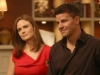 "BONES:  Brennan (Emily Deschanel, L) and Booth (David Boreanaz, R) welcome family members to their home before their wedding in the ""The Woman in White"" episode of BONES airing Monday, Oct. 21 (8:00-9:00 PM ET/PT) on FOX.  ©2013 Fox Broadcasting Co.  Cr:  Patrick McElhenney/FOX"