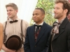 "BONES:  Hodgins (TJ Thyne, R) and Jeffersonian interns Wendell Bray (Michael Grant Terry, L) and Dr. Clark Edison (Eugene Byrd, C) attend Brennan and Booth's wedding in the ""The Woman in White"" episode of BONES airing Monday, Oct. 21 (8:00-9:00 PM ET/PT) on FOX.  ©2013 Fox Broadcasting Co.  Cr:  Patrick McElhenney/FOX"