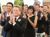 "BONES:  Friends and family attend Brennan and Booth's wedding (pictured L-R: guest stars Michael Grant Terry, Pej Vahdat, Ryan O'Neal, Eugene Byrd and Tamara Taylor and TJ Thyne) in the ""The Woman in White"" episode of BONES airing Monday, Oct. 21 (8:00-9:00 PM ET/PT) on FOX.  ©2013 Fox Broadcasting Co.  Cr:  Patrick McElhenney/FOX"