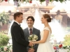 "BONES: Brennan (Emily Deschanel, R) and Booth (David Boreanaz, L) are married in the ""The Woman in White"" episode of BONES airing Monday, Oct. 21 (8:00-9:00 PM ET/PT) on FOX. Also pictured: guest star Mather Zickel (C).  ©2013 Fox Broadcasting Co.  Cr:  Patrick McElhenney/FOX"