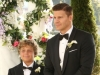 "BONES:  At Brennan and Booth's wedding, Booth (David Boreanaz, R) and his son Parker (guest star Ty Panitz, L) watch as Brennan walks down the aisle in the ""The Woman in White"" episode of BONES airing Monday, Oct. 21 (8:00-9:00 PM ET/PT) on FOX.  ©2013 Fox Broadcasting Co.  Cr:  Ray Mickshaw/FOX"