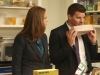 "BONES: Brennan (Emily Deschanel, L) and Booth (David Boreanaz, R) investigate a food scientists lab in the ""The Mystery in the Meat"" episode of BONES airing Friday, Nov. 29 (8:00-9:00 PM ET/PT) on FOX. ©2013 Fox Broadcasting Co.  Cr: Patrick McElhenney/FOX"