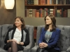 "BONES:  Brennan (Emily Deschanel, R) appears in a television interview with a rival author (guest star Nora Dunn, L) who she has little respect for in the ""The Dude in the Dam"" episode of BONES airing Monday, Nov. 11 (8:00-900 PM ET/PT) on FOX.  ©2013 Fox Broadcasting Company.  Cr:  Ray Mickshaw/FOX"