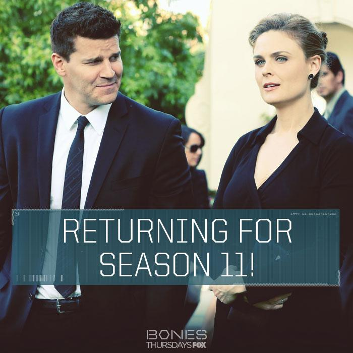 Bones will return for Season 11
